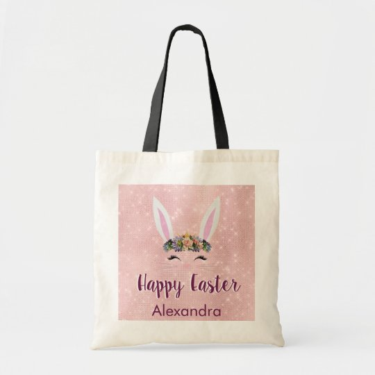 Cute Blush Pink Happy Easter Bunny Tote Bag