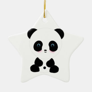 Cute Blushing Panda Bear Christmas Ornament