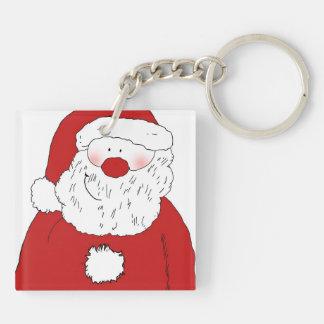 Cute Blushing Santa Double-Sided Square Acrylic Key Ring
