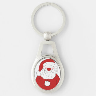 Cute Blushing Santa Silver-Colored Oval Metal Keychain