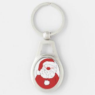Cute Blushing Santa Silver-Colored Oval Key Ring