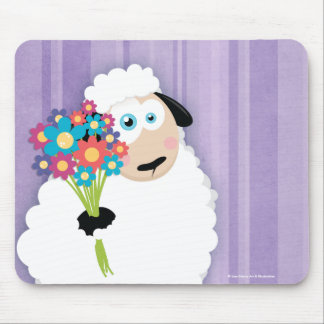 Cute Blushing Sheep Holding Flowers Novelty Mouse Mat