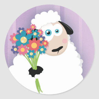 Cute Blushing Sheep Holding Flowers Stickers