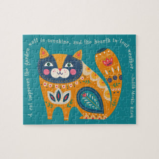 Cute Boho Cat with quote Puzzles