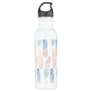 Cute boho pattern pastel colored feathers artsy 710 ml water bottle