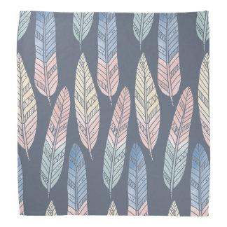 Cute boho pattern pastel colored feathers artsy bandana