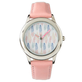 Cute boho pattern pastel colored feathers artsy watch