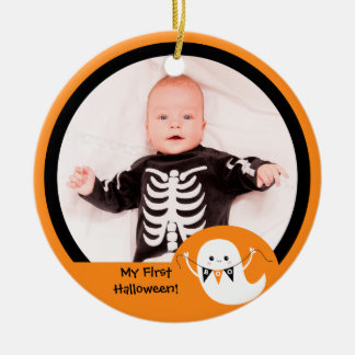 Cute Boo Ghost Halloween Photo Ornament