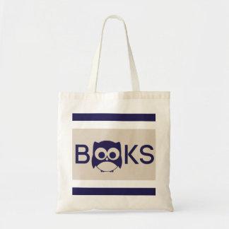 Cute Book Owl Tote Beige Stripe Bag