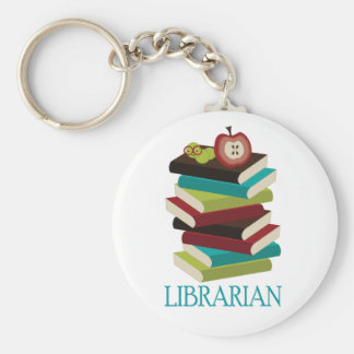 Cute Book Stack Librarian Gift Basic Round Button Key Ring