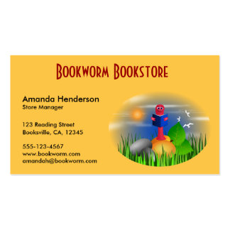 Cute Book Store Bookworm Business Cards Business Cards