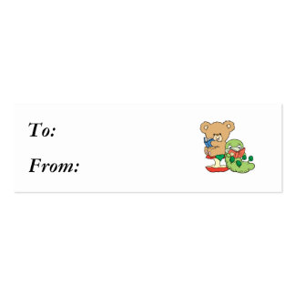 Cute Book Worm and Reading Bear Pack Of Skinny Business Cards