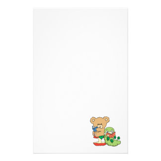 Cute Book Worm and Reading Bear Personalized Stationery