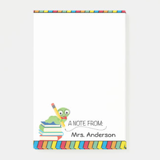 Cute Bookworm, A Note From Teacher, Personalized Post-it® Notes