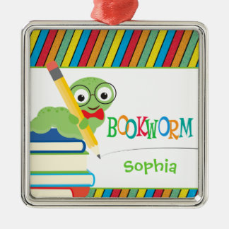 Cute Bookworm Sitting on Books Personalized Christmas Ornament