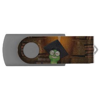 Cute bookworm swivel USB 2.0 flash drive