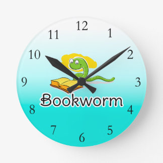 Cute Bookworm w/Glasses Round Clock