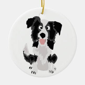 Cute Border Collie Original Art Christmas Ornament