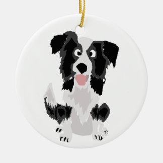 Cute Border Collie Original Art Christmas Ornament