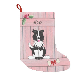 Cute Border Collie Pink Wooden Fence Monogram Small Christmas Stocking