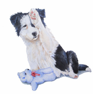 Cute border collie puppy & teddy sculpture magnet photo sculpture magnet