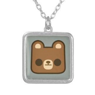 Cute Bored Bear Face on Grey Custom Jewelry