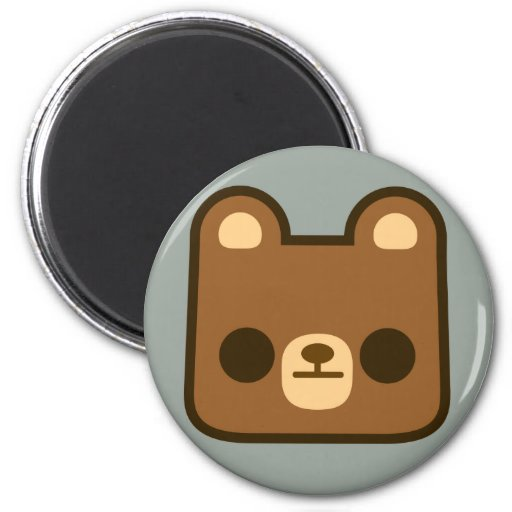 Cute Bored Bear Face on Grey Refrigerator Magnets