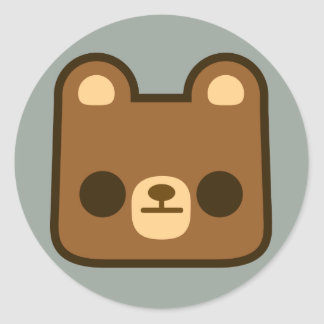 Cute Bored Bear Face on Grey Round Stickers
