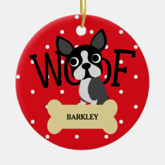 Cute Boston Terrier and Gold Bone and Red Dots Christmas Ornament
