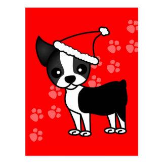 Cute Boston Terrier Cartoon Santa Hat Postcard