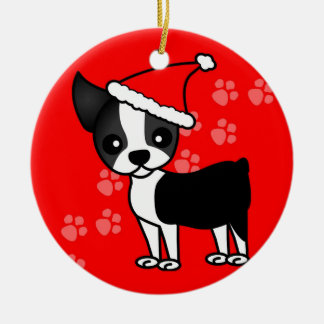 Cute Boston Terrier Cartoon Santa Hat Red Round Ceramic Decoration