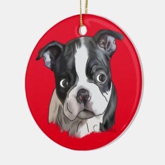 Cute Boston Terrier Dog Round Ceramic Decoration