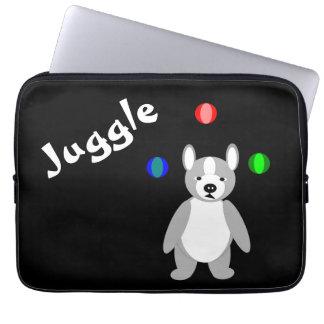 Cute Boston Terrier Juggling puppy Laptop Sleeves