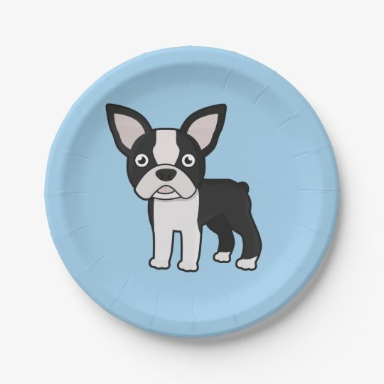 Cute Boston Terrier Paper Plate