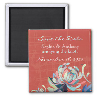 Cute Botanical Wedding Save the Date Square Magnet