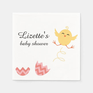 Cute Bouncing Chick Baby Shower Napkins Disposable Napkins