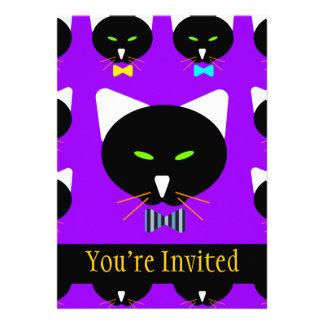 Cute Bowtie Black Cat On Purple Cards