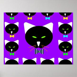 Cute Bowtie Black Cat On Purple Posters
