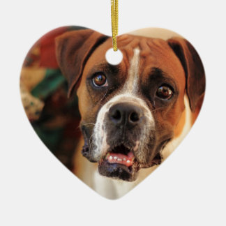 Cute Boxer Ceramic Heart Decoration