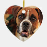 Cute Boxer Double-Sided Heart Ceramic Christmas Ornament