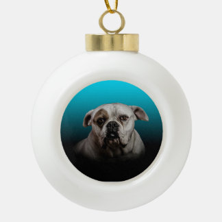 Cute Boxer Dog w Blue Black Gradient background Ceramic Ball Christmas Ornament
