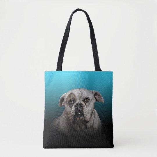 Cute Boxer Dog w Blue Black Gradient background