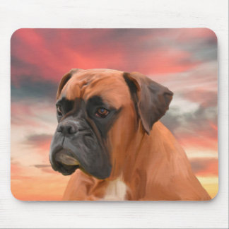 Cute Boxer Dog Water Color Oil Painting Art Mouse Mat