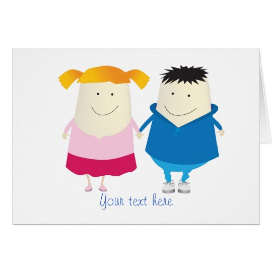 cute boy and girl card