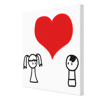 Cute boy and girl in love doodle canvas print