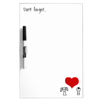 Cute boy and girl in love doodle dry erase whiteboard
