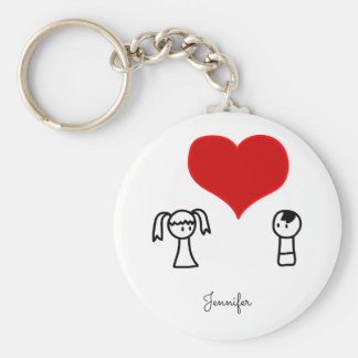 Cute boy and girl in love doodle name basic round button key ring