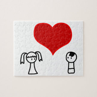 Cute boy and girl in love doodle puzzle