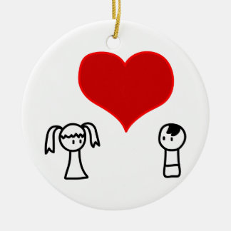Cute boy and girl love doodle bachelorette party round ceramic decoration