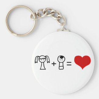 Cute boy and girl love doodle basic round button key ring